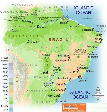 Physical Map Of Brazil Brazil Physical Map Travel Pinterest - World physical map labeled