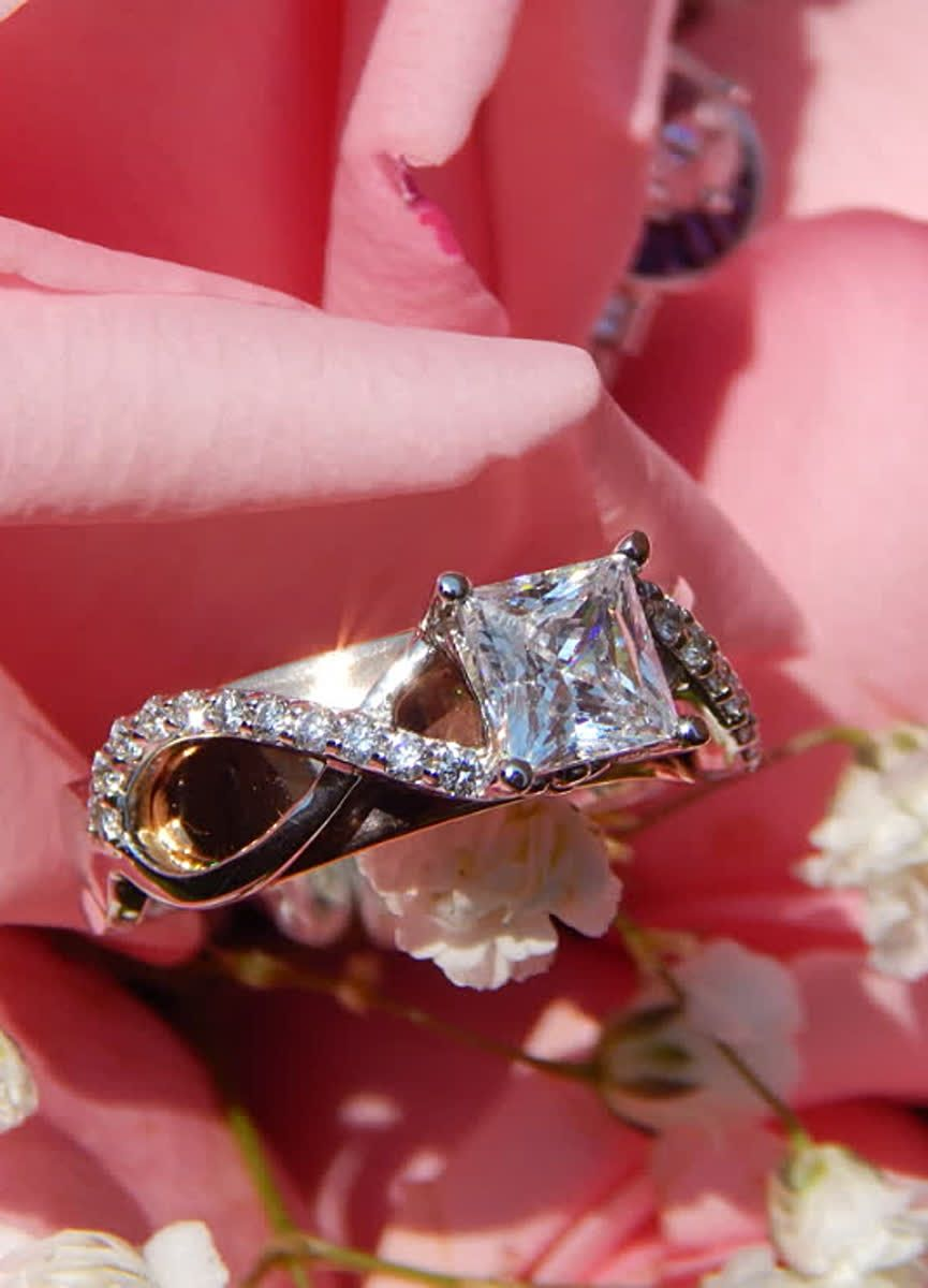 Princess Cut Diamond Engagement Ring in Two Tone Rose and White Gold ...