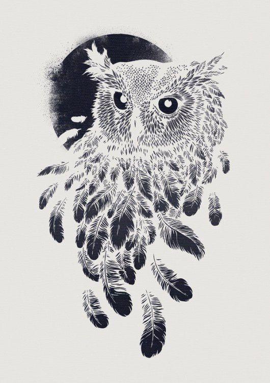 Картинка сова и перья татуировка
