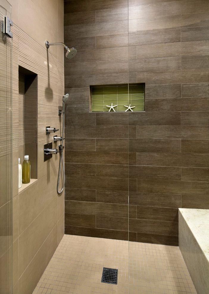 Wood Plank Tile Bathroom Beach with Built in Shower Bench Floor ...