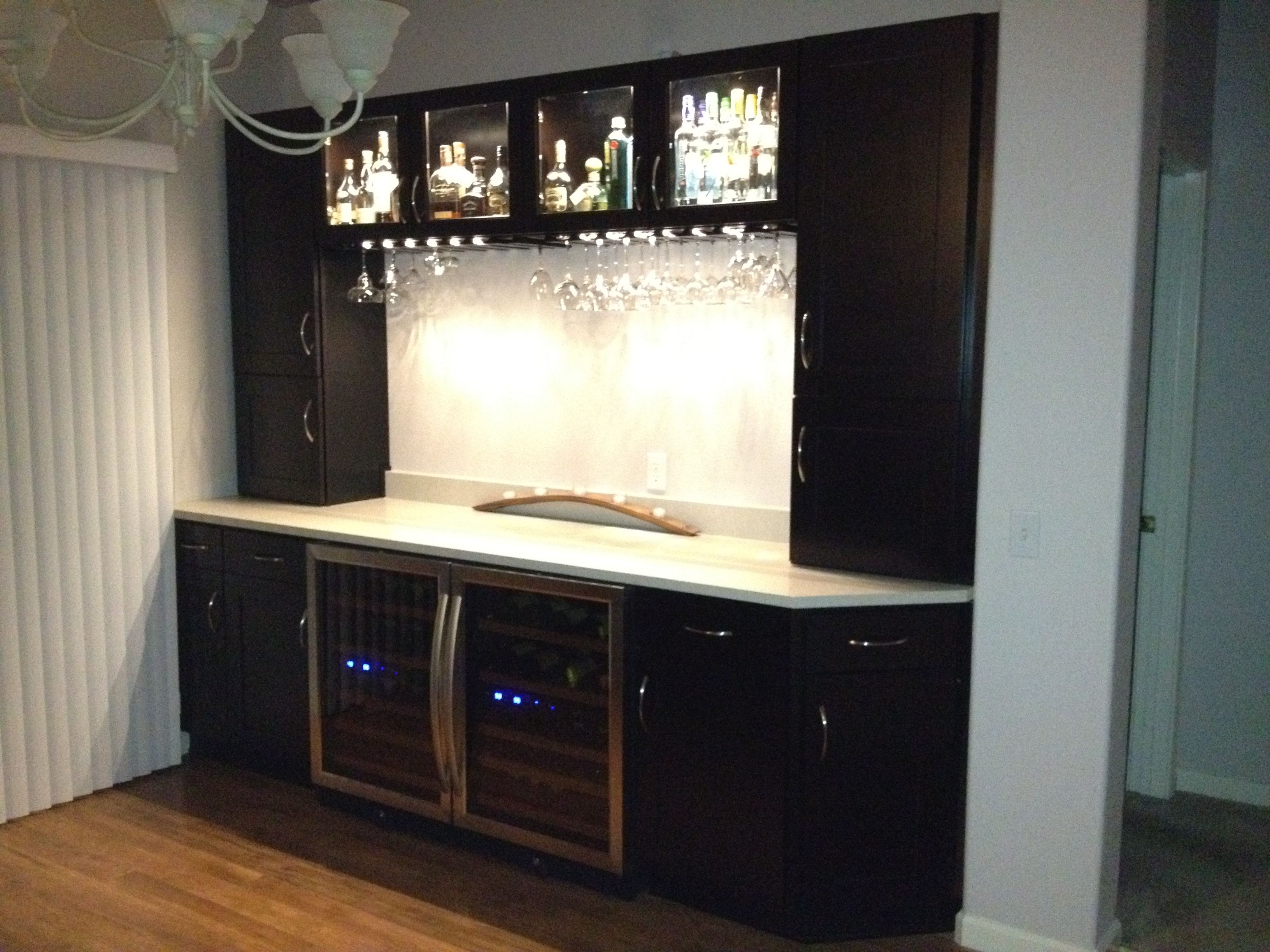 Custom Home Bar, Self Install. Cabinets: Home Depot; Wine Fridges,