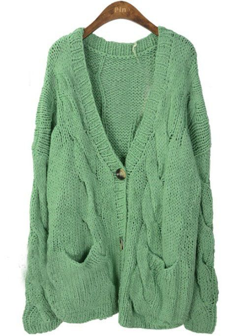 Light Green V Neck Long Sleeve Serratula Cardigan Sweater >> This looks super cozy!