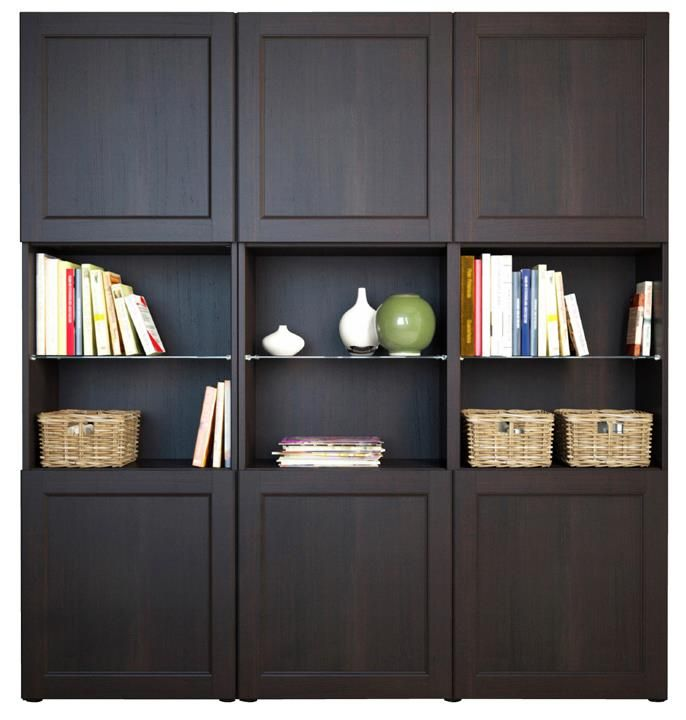 Ikeas BESTA Storage, More Traditional Look. Add Mirror Or Wallpaper Into  The Open Book Shelf Sections:)