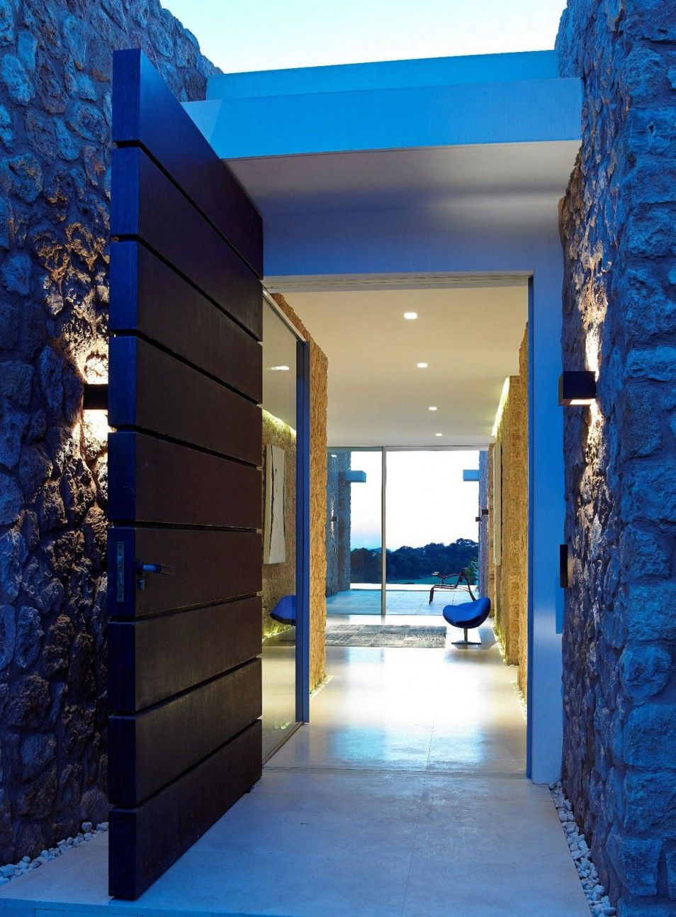Delightful Astonishing Holiday Villa Inspiration : Striking Calaconta Home Design  Exterior With Modern Decoration Used Stone Wall And Wooden Door Desig.