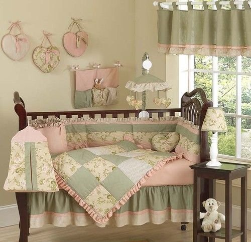 FLORAL ROOM COLLECTION BABY BEDDING 9p CRIB SET FOR NEWBORN GIRL BY JOJO DESIGNS