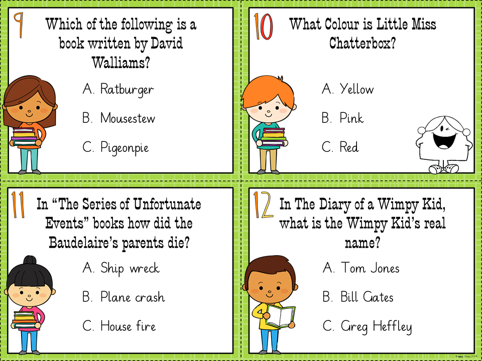 WORLD BOOK DAY Quiz / Task Cards Task cards, Books, Cards