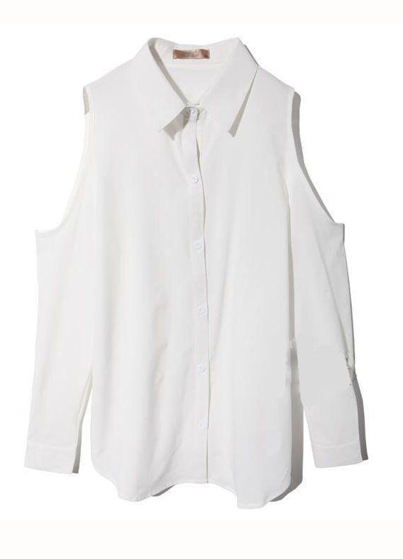 Off The Shoulder Lapel Loose Chiffon Shirt White