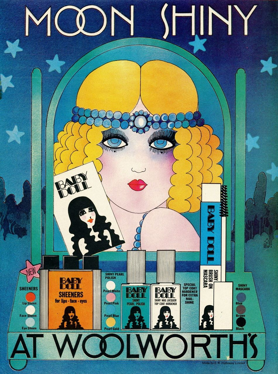 Ad for Baby Doll cosmetics, 1968 (Puck's comment: gorgeous poster art!! <3)