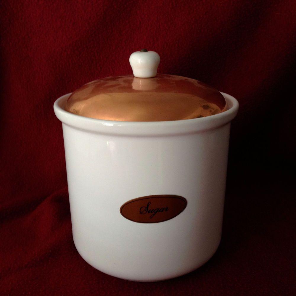 copper top himark portugal white ceramic coffee tea sugar canister copper top himark portugal white ceramic coffee tea sugar canister set vguc