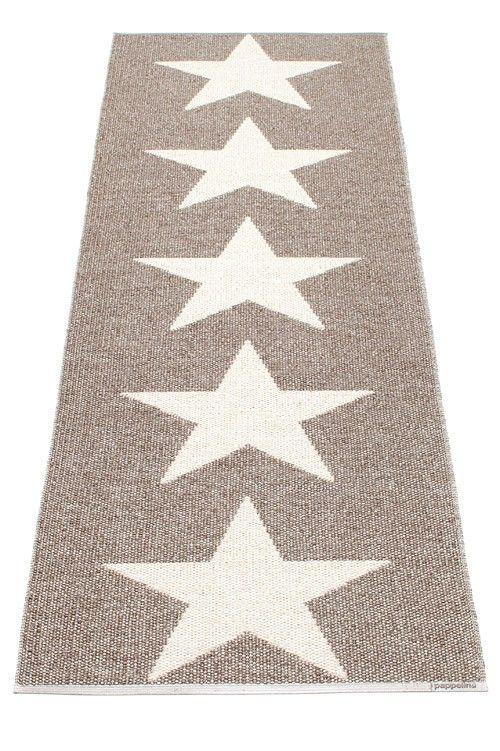 Pappelina Rug Carpet Viggo Star Metallic Mud Vanilla Plastmatta