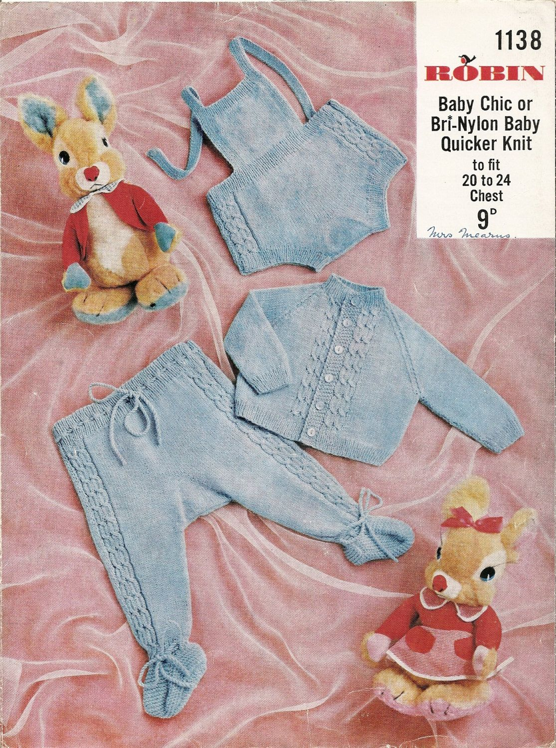 Knitting Pattern Vintage Baby Romper Suit Cardigan and Trousers 20 ...