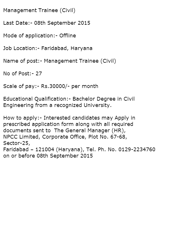 Recruitment In Npcc  Government Jobs In Haryana