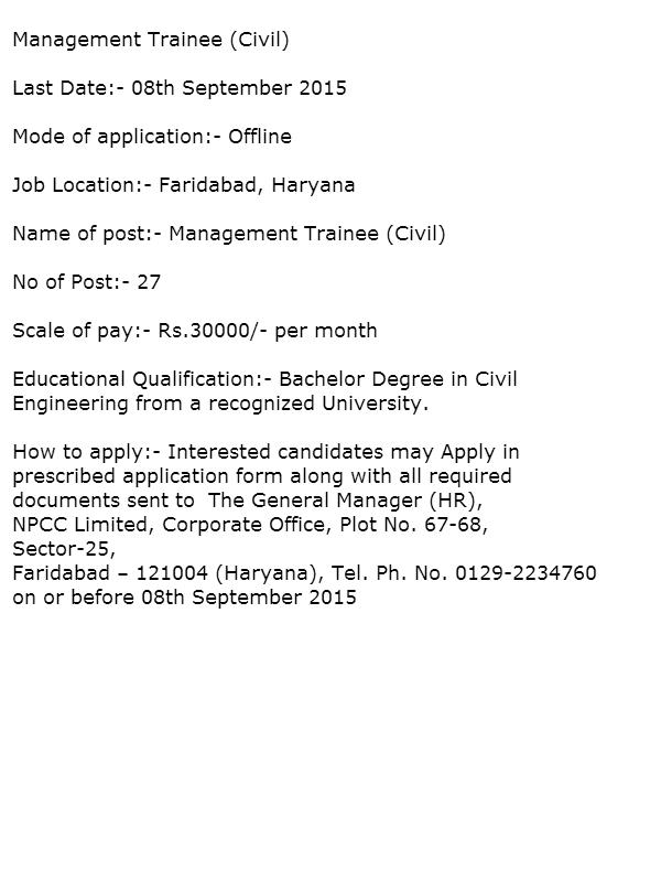 Recruitment In Npcc  Government Jobs In Haryana