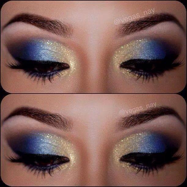 Ojos Azul Y Dorado Gold Eye Makeup Blue Eye Makeup Cheer Makeup
