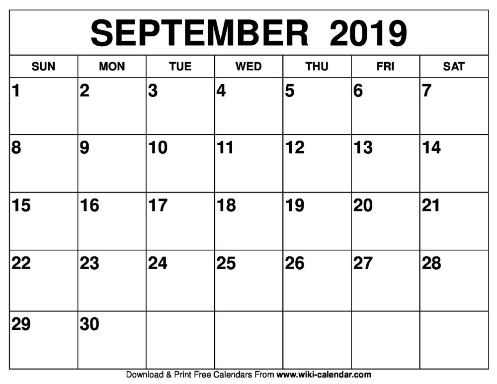 September 2019 Calendar Free Printable Calendar Templates Printable Calendar Template Calendar Printables