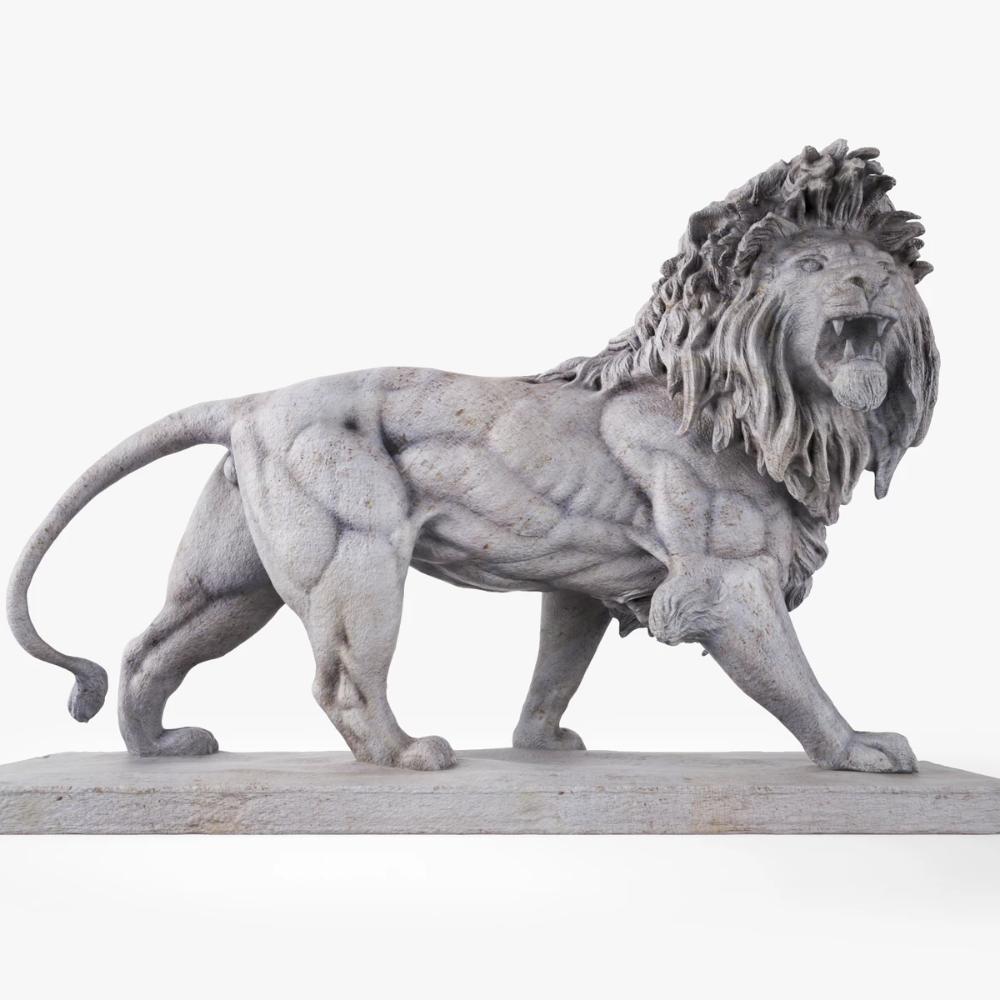 Stone Lion Statue Sculpture 3D Model in 2020 Stone lion