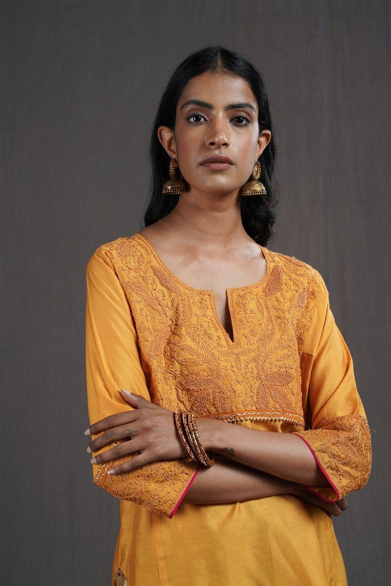 Indigo rust yoke kurta sampada chiffon fabric fashion