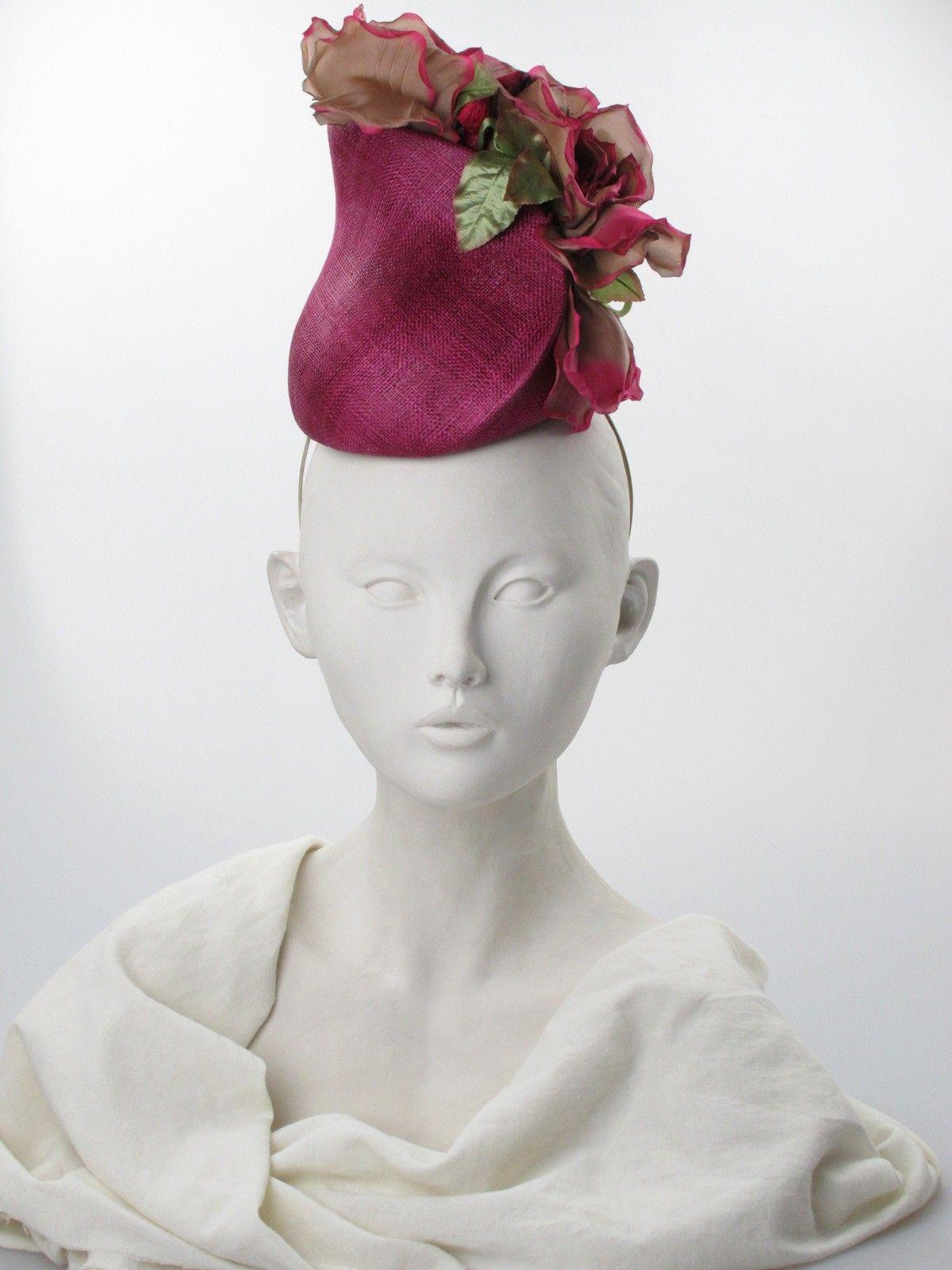 Philip Treacy. Fuschia straw and silk vase headpiece. Summer wear. Free size.