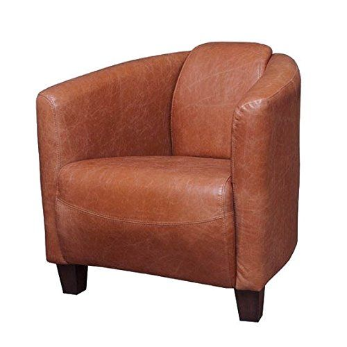 Mohr And Mcpherson Classic Leather Tub Chair In Vienna Tan Finish