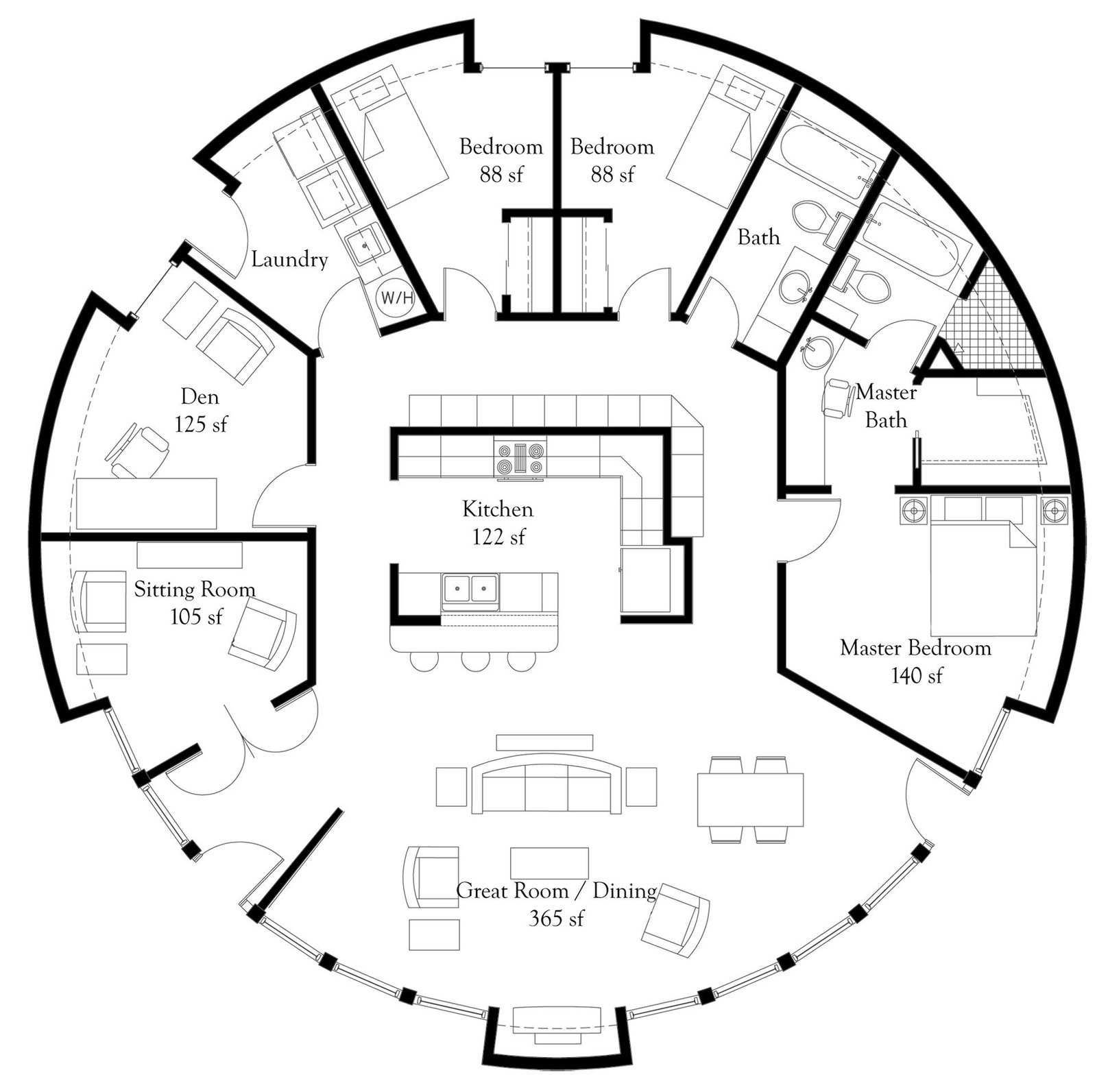 Plan Number Dl5006 Floor Area 1 964 Square Feet Diameter 50 3 Bedrooms 2 Baths Study Sitting Room Round House Plans Dome Home Round House
