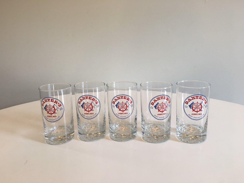Vintage Cape Cod Souvenir Glass Tumblers Baxter S Etsy Souvenir Glass Themed Glasses Retro Glasses