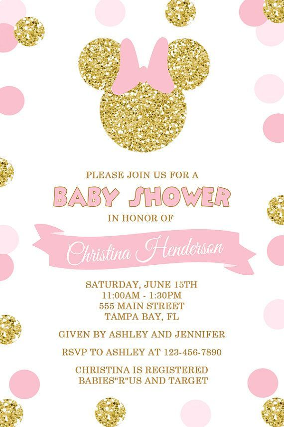 Minnie Mouse Baby Shower Invitation, Pink and Gold Glitter Polka Dots, Printable or Printed Pink and Gold Minnie Mouse Baby Shower Invitation by Honeyprint