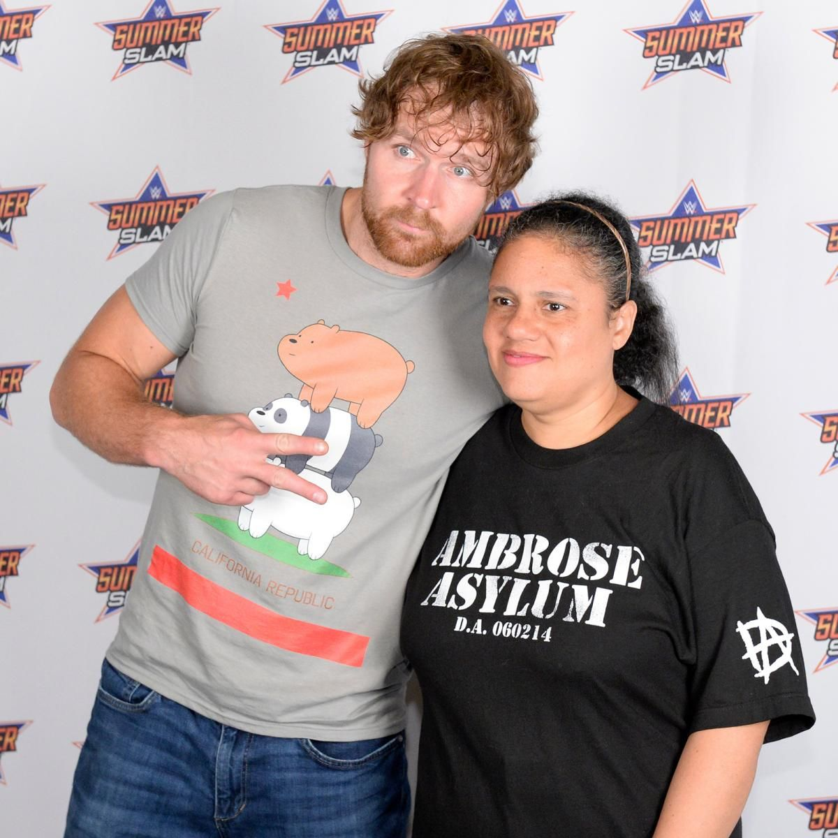 Aj styles and dean ambrose engage the fans in a special summerslam aj styles and dean ambrose engage the fans in a special summerslam meet greet kristyandbryce Image collections