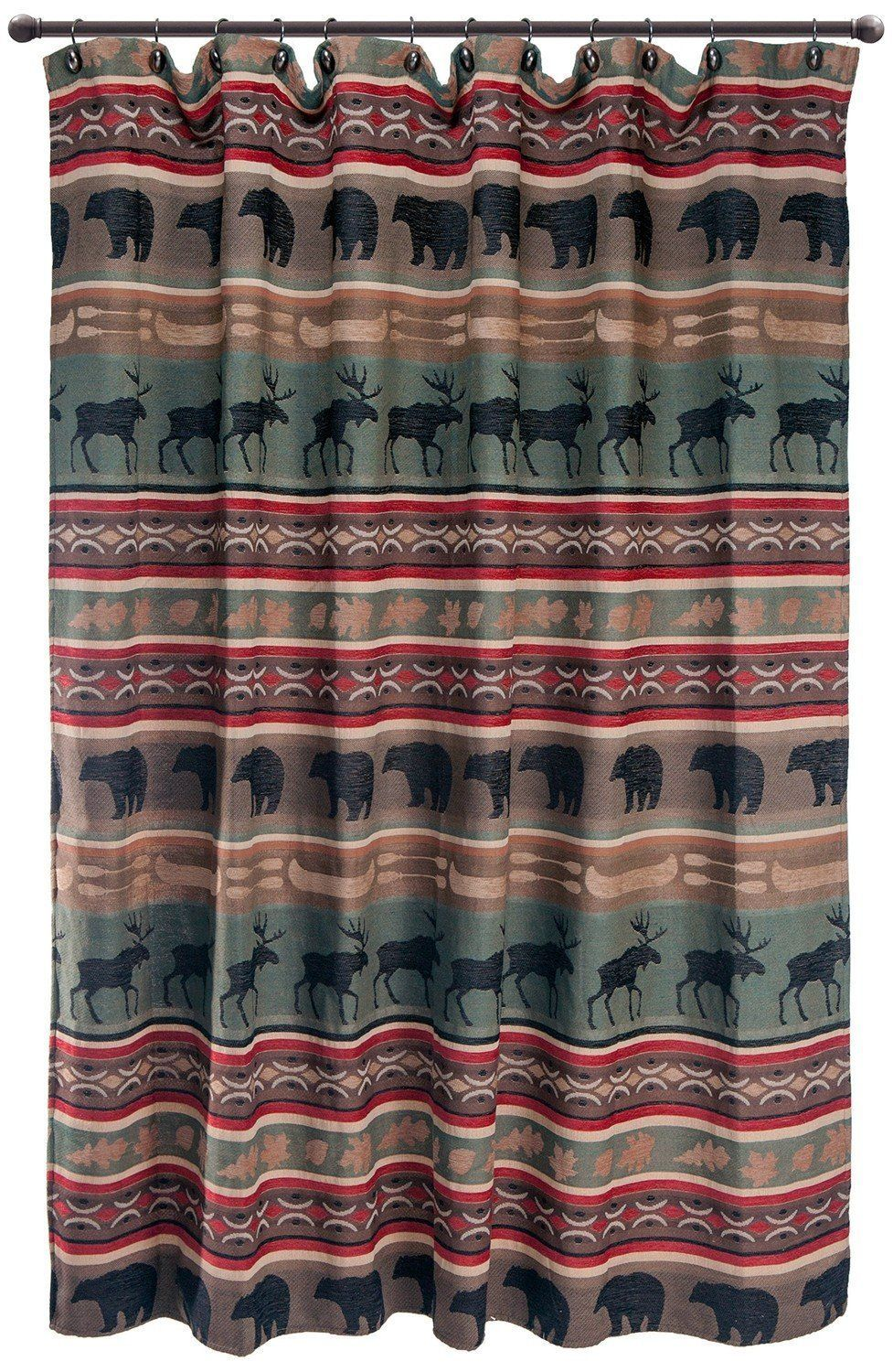 Backwoods Shower Curtain Cabin Shower Curtain Bathroom Red