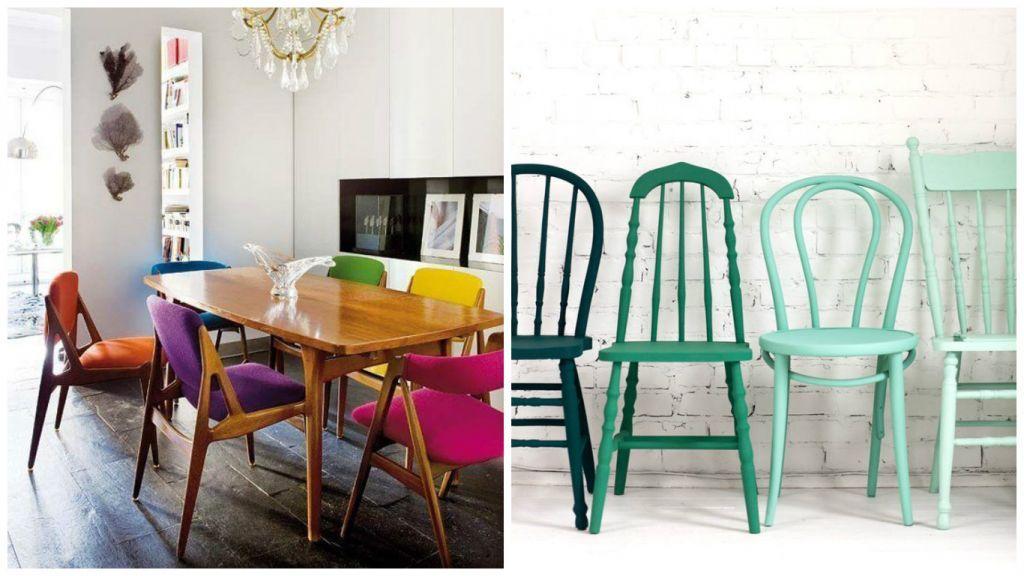 Chaises Dpareilles Pour Une Salls Manger Vintage Couleurs Pastels Ou Vives Donner