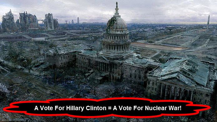 God help America if Hillary Clinton becomes our 45th President. She will for sure start Nuclear World War 3 with Russia.