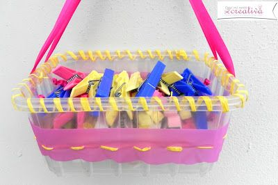 Creative recycling plastic trays – clothespins holder …