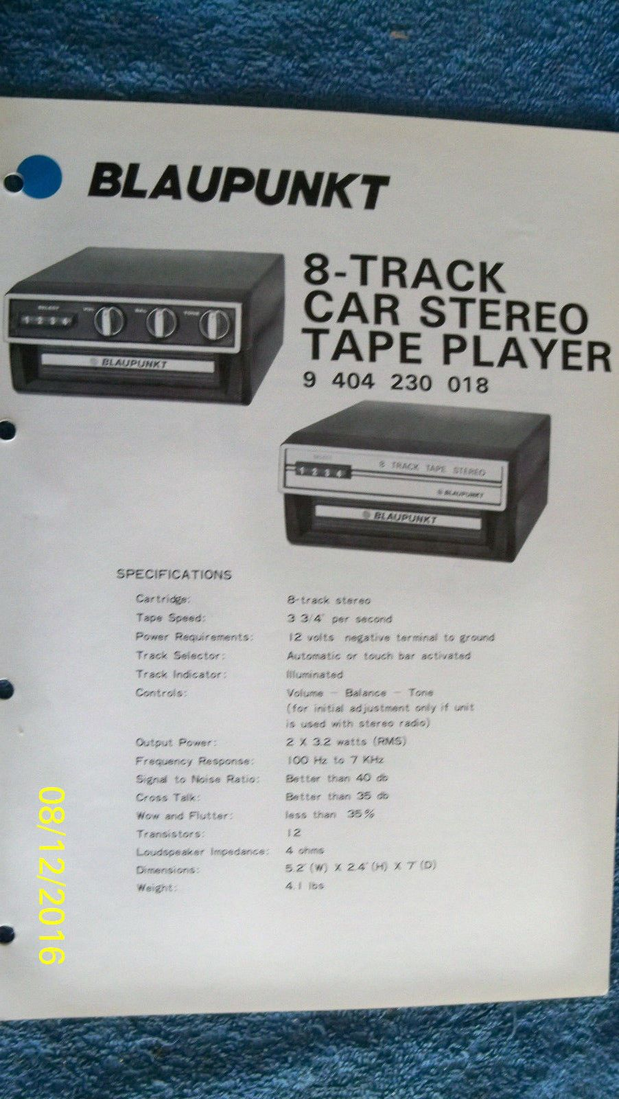 Blaupunkt car audio service #manual #8-track tape #player 9 404 230