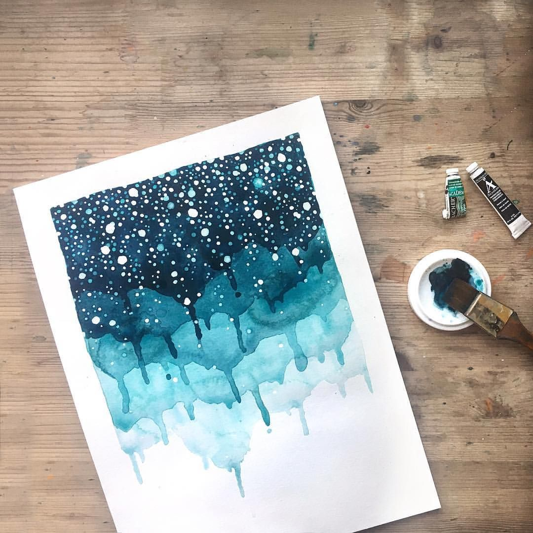 Abstract Layered Watercolor Painting Amanda Michele Artist
