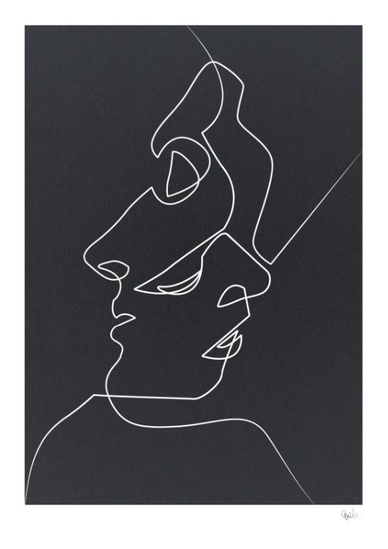 Abstract Face Line Drawing : Available for purchase close noir black and white