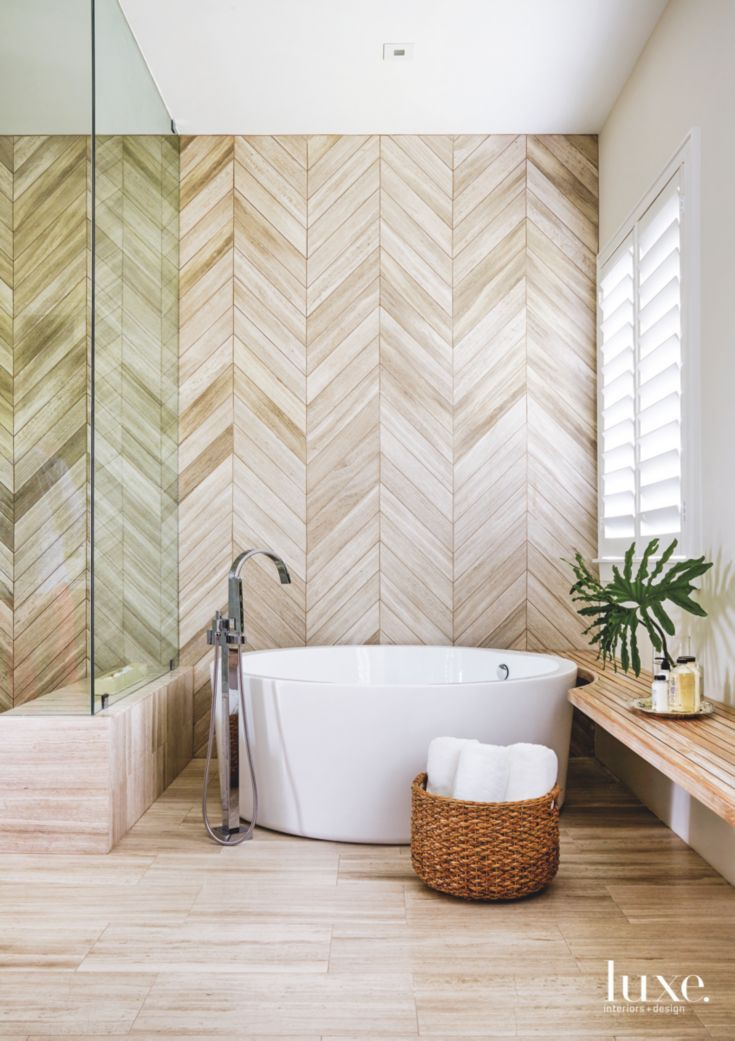 Miami Master Bathroom Makes A Statement With Herringbone ...