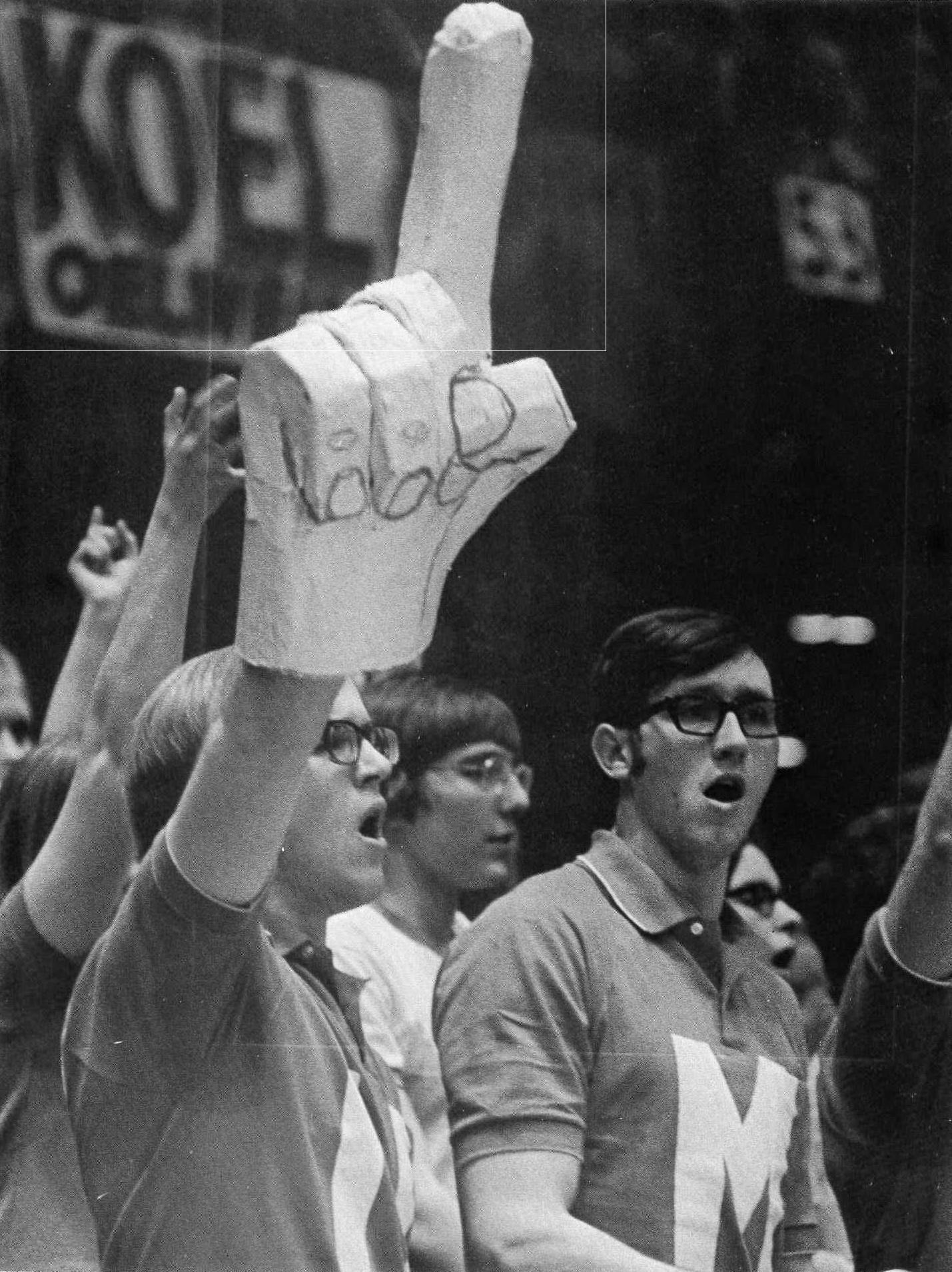original fan hand, 1971..later inspired the foam finger in 1978