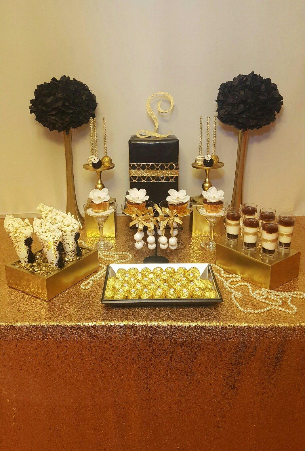 Gold And Black Themed Dessert Table Gold Dessert Table Black