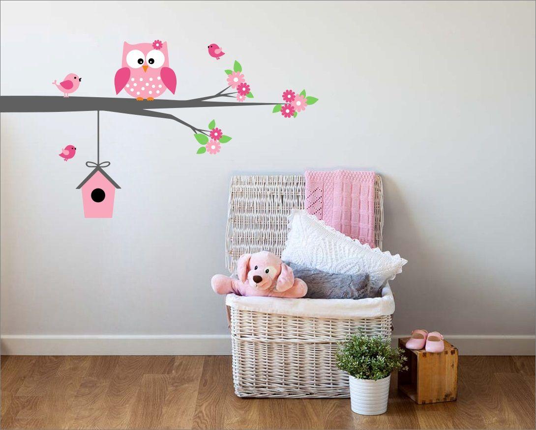 Behang Kinderkamer Vogeltjes : Exclusive muursticker uiltje en vogeltjes op tak muursticker
