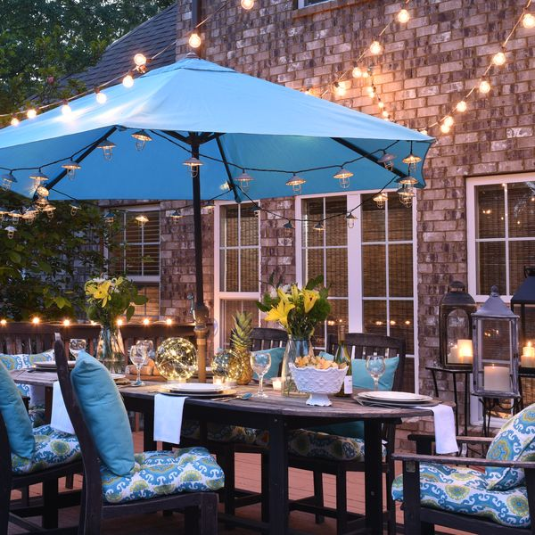 How To Hang String Lights On Your Patio Better Homes And Gardens