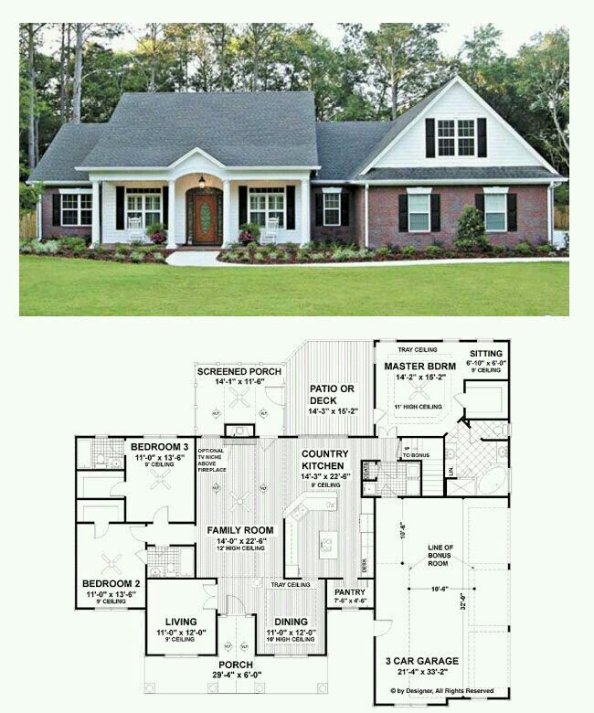 Rancher With Bonus Room Ranch House Plans New House Plans Dream House Plans