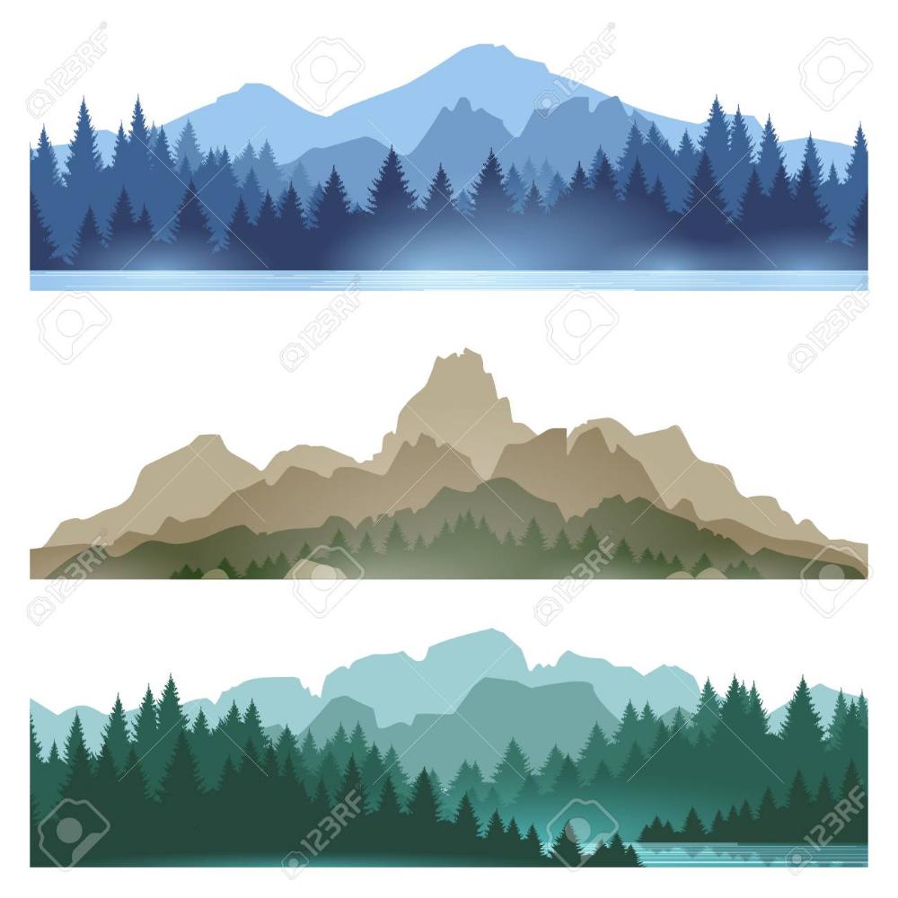 Foggy Mountains Landscape Set Vector Illustration Smokey Rocky Pine Tree Art Pine Tree Silhouette Mountain Landscape