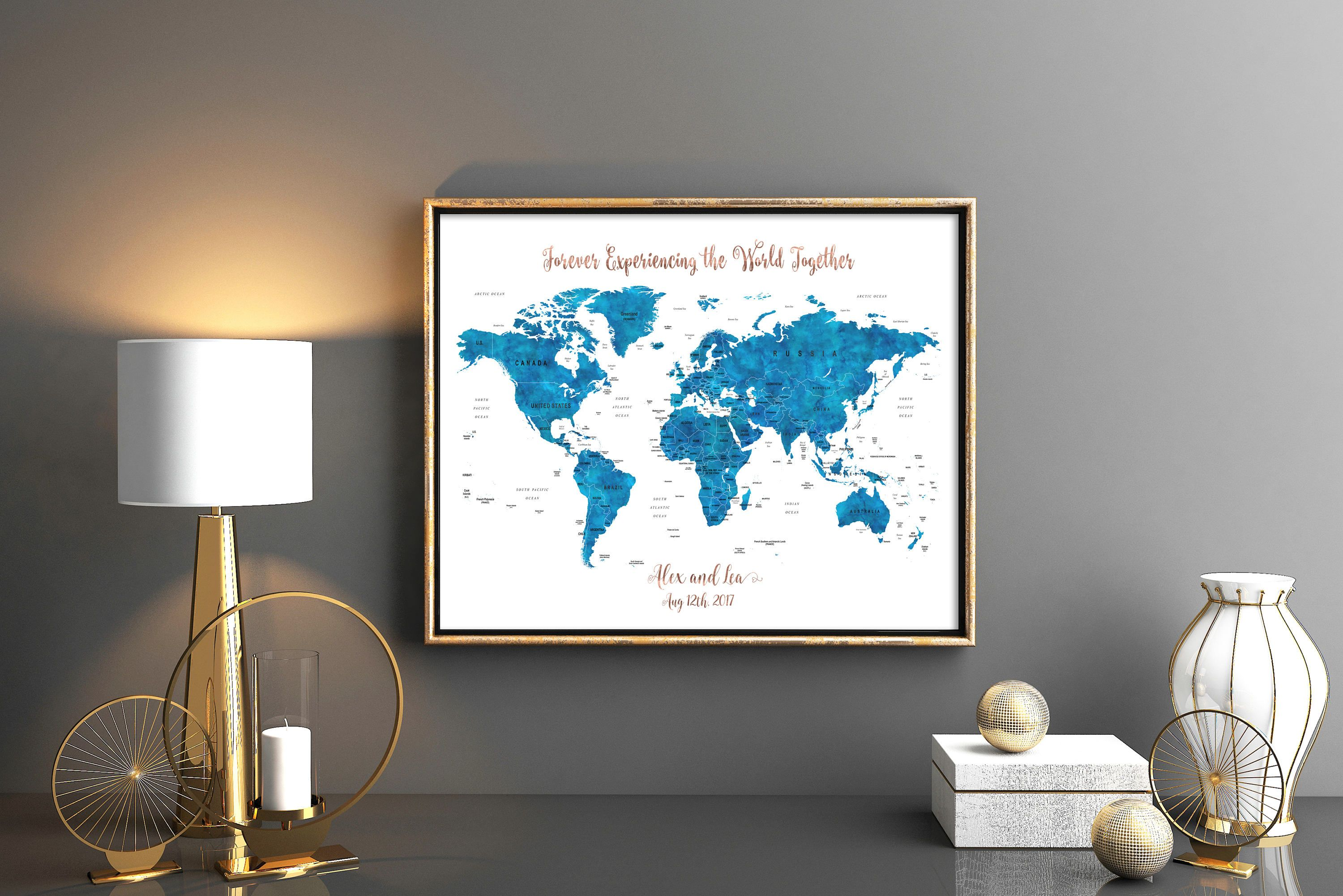 Navy blue wedding world map guestbook with rose gold wording map navy blue wedding world map guestbook with rose gold wording map wedding guest book wedding map gumiabroncs Choice Image
