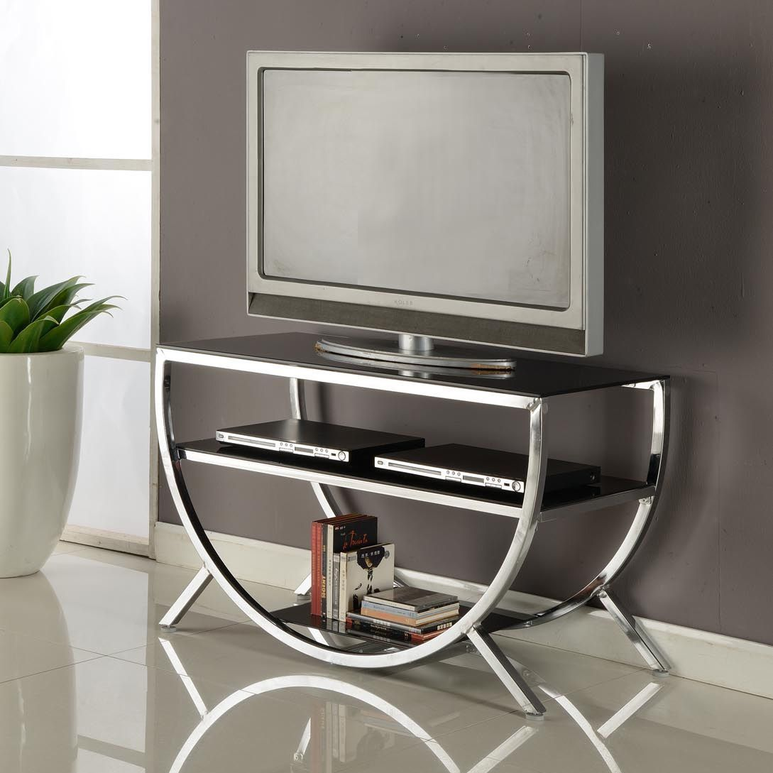 A Glass Top And Functional Shelves Completes This Versatile  # Meubles Pose Television