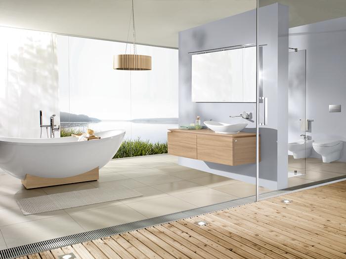 Landelijke badkamer inrichting - houten badkamermeubelen van ...