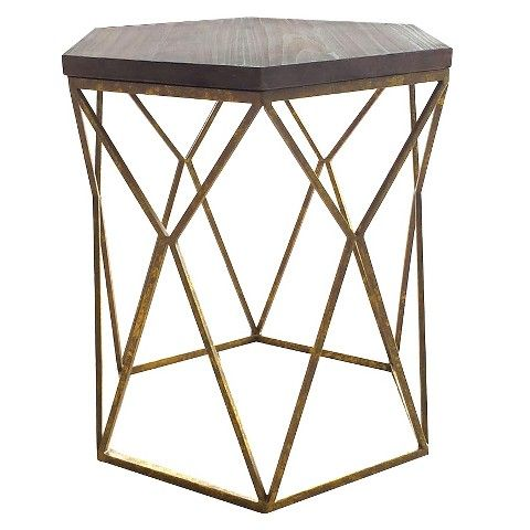 Chester End Table Gold Metal Hexagon Really Loving The Geometric Shapes In Furniture