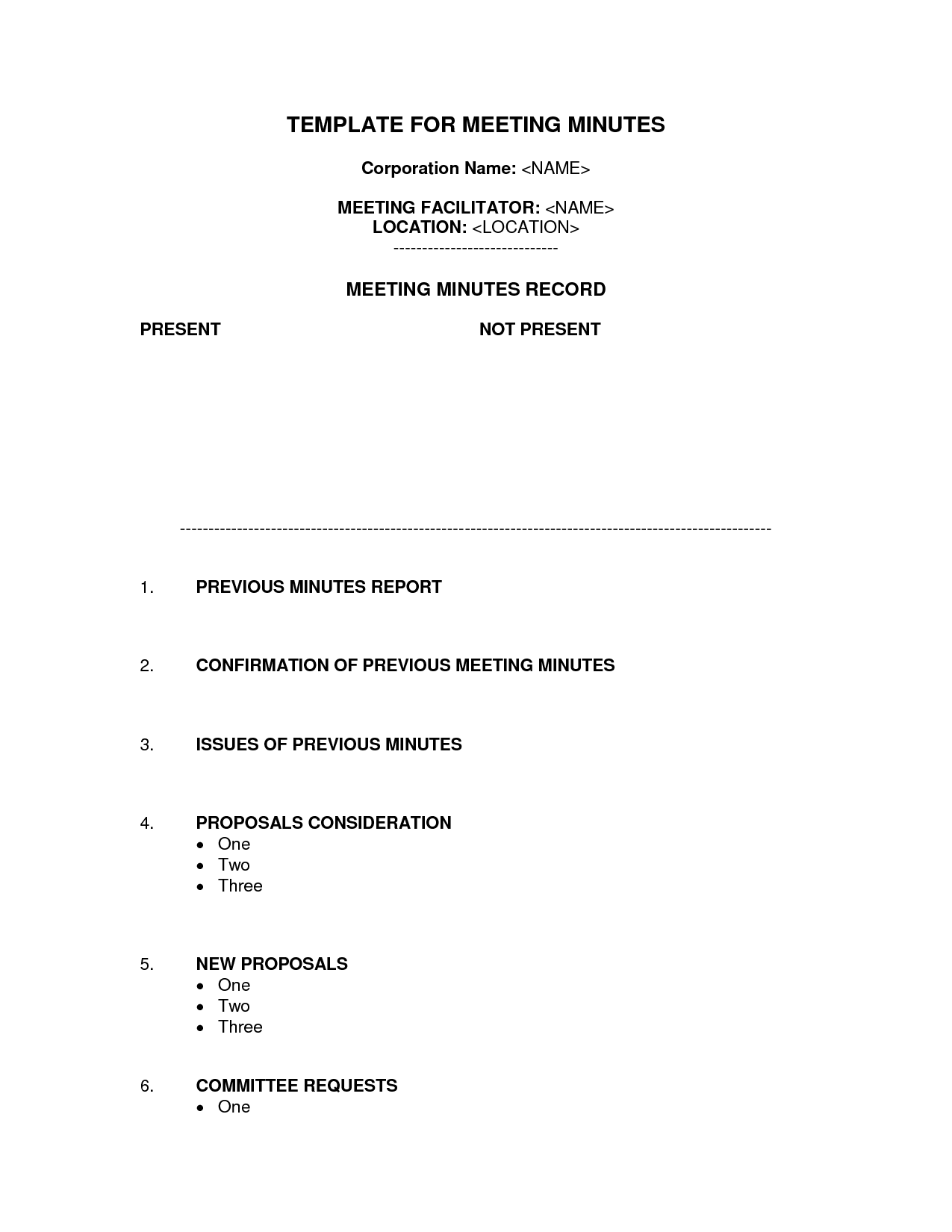 Staff Meeting Minutes Template Word | Bagnas - corporation meeting ...