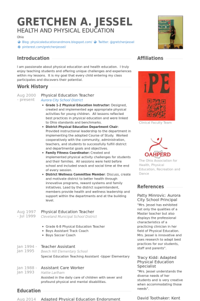 physical education teacher resume Google Search (With