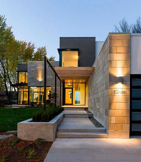 Stone Wall Pictures And Design Ideas To Beautify Yard - Modern exterior house design with stone