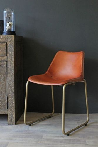 Remarkable Brown Leather Dining Chair With Brass Effect Legs Home Gamerscity Chair Design For Home Gamerscityorg
