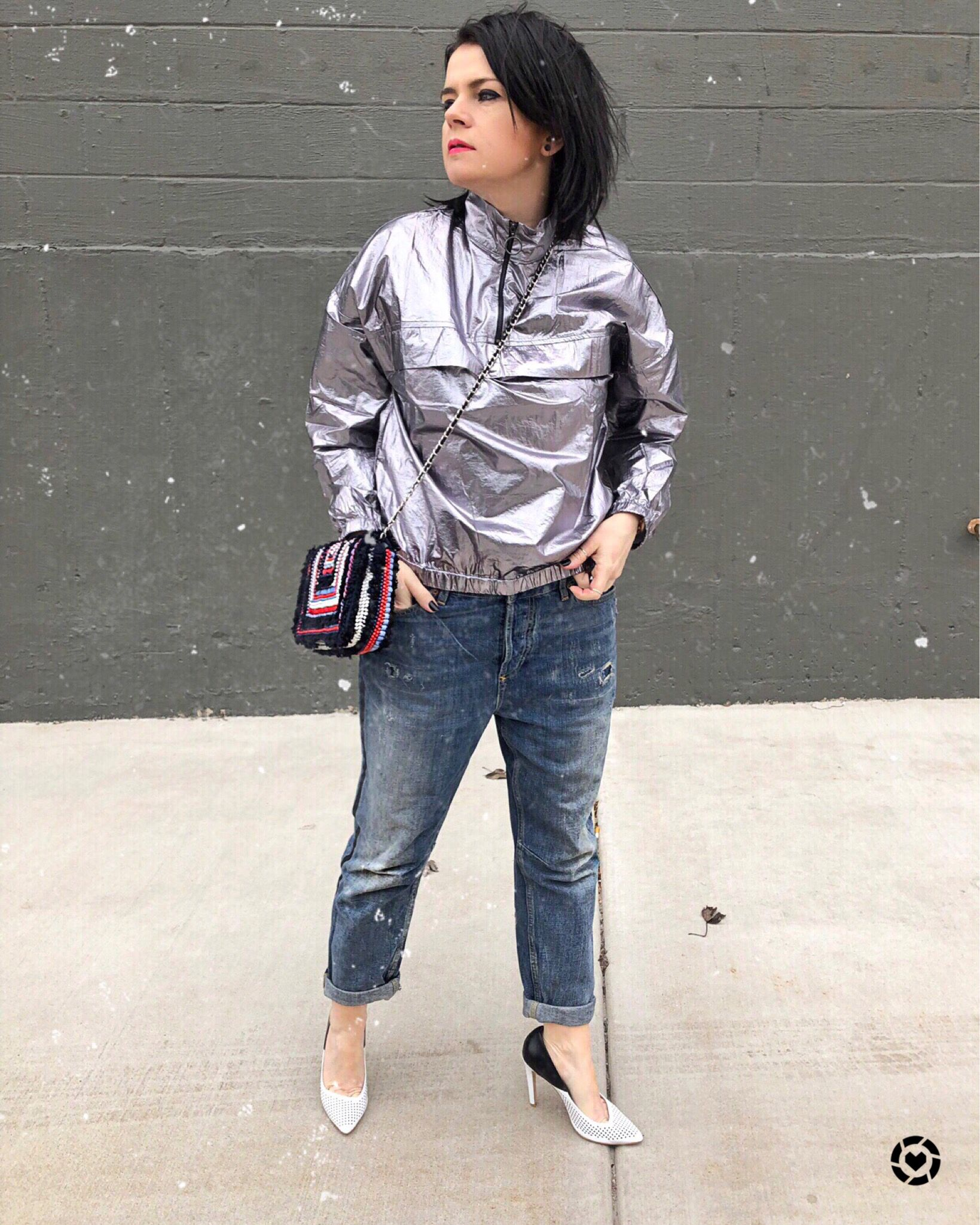 Silver Metallic Jacket With High Neck Red Lipstick Makeup